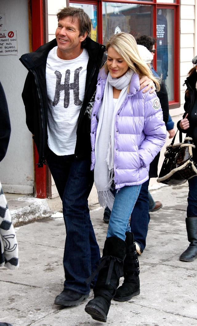 <p>Dennis Quaid, at Sundance to pitch <em>Smart People</em>, took in the sights and sounds around town with then-wife Kimberly Buffington by his side. The two separated for the first of several times in 2012, before calling it quits for good in 2016. (Photo: Brian Ach/WireImage) </p>