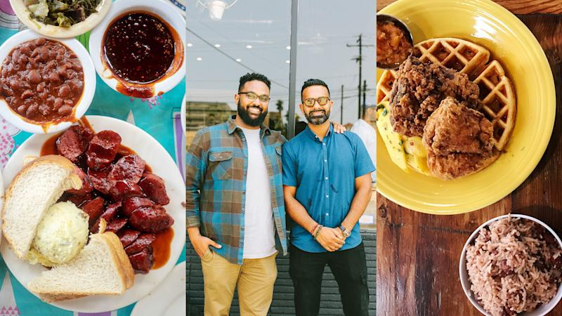 From left to right: Everett and Jones BBQ in Oakland, Yonnie Hagos and Ajay Relan of Hilltop Coffee and Kitchen in L.A., Miss Ollie's in Oakland.
