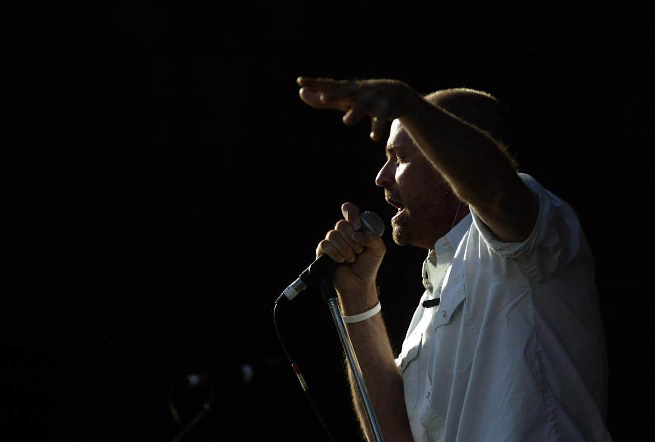 <p>Gord Downie of the Tragically Hip performs during the Live 8 concert on July 2, 2005, in Barrie, Canada. The goal of the Live 8 series is to raise awareness of poverty and debt relief for third world countries. Photo from Getty Images </p>
