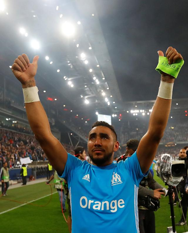 Soccer Football - Europa League Semi Final Second Leg - RB Salzburg v Olympique de Marseille - Red Bull Arena, Salzburg, Austria - May 3, 2018 Marseille's Dimitri Payet celebrates after the match REUTERS/Leonhard Foeger