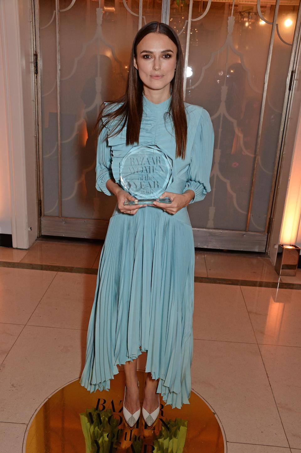 <p>For the Harper's Bazaar Women of the Year Awards at Claridge's, London, Keira wore a Givenchy Spring-Summer 2018 collection gown designed by Claire Waight Keller. <em>[Photo: Getty]</em> </p>