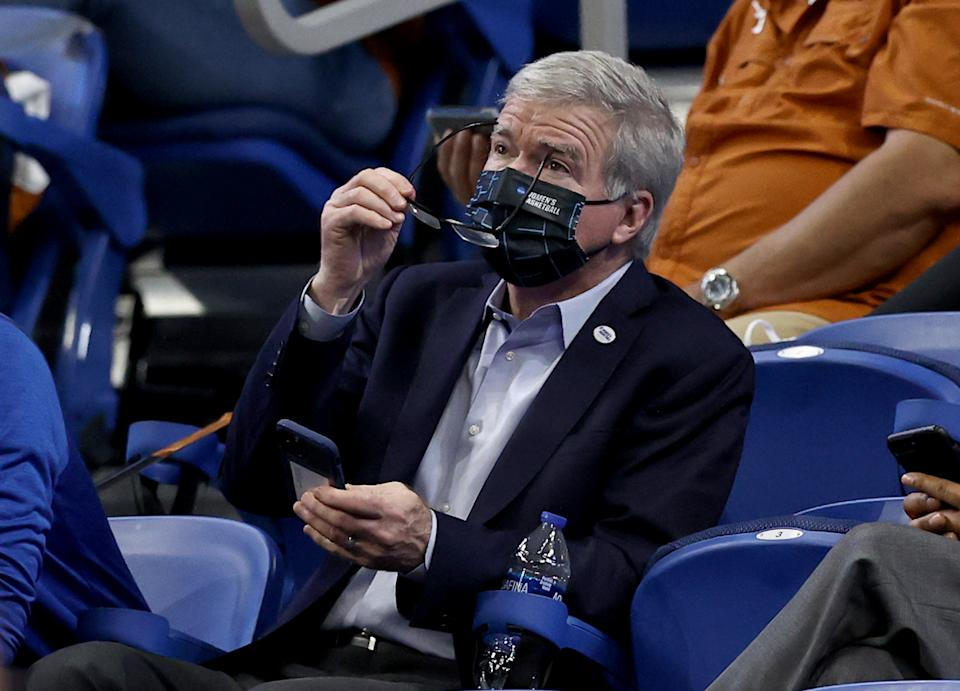 NCAA president Mark Emmert attends a game between Texas and South Carolina during the women's basketball tournament March 30, 2021. (Elsa/Getty Images)