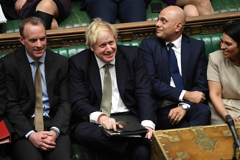 Britain's Prime Minister Boris Johnson and Chancellor of the Exchequer Sajid Javid attend the debate on the Queen's Speech in the House of Commons Chamber, in London, Britain December 19, 2019. ©UK Parliament/Jessica Taylor/Handout via REUTERS THIS IMAGE HAS BEEN SUPPLIED BY A THIRD PARTY.