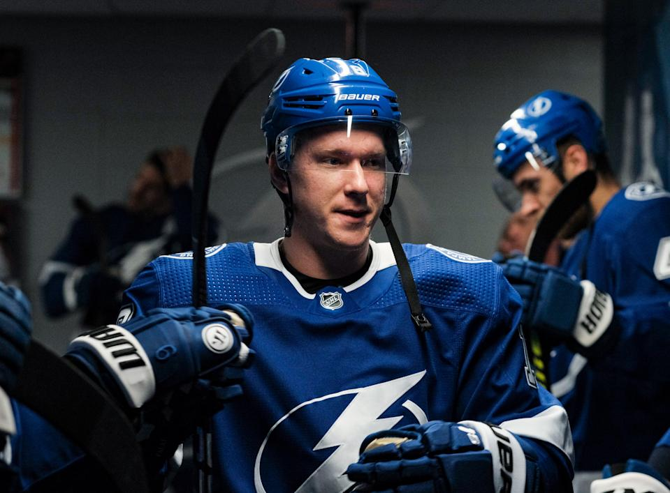 Ondrej Palat #18  of the Tampa Bay Lightning