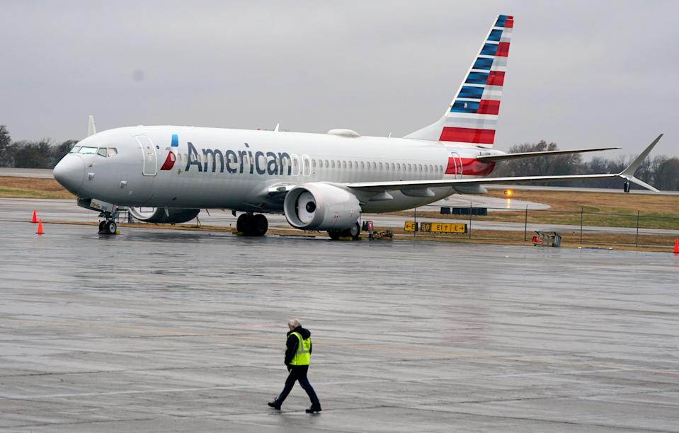 <p>American Airlines has a strict face coverings policy</p> (AP)