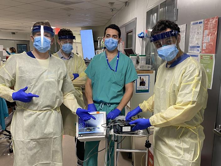 Healthcare workers who helped create the ventilator prototype. From left to right: Drew Copeland, RPSGT; Dr. Thomas Tolbert, Dr. Brian Mayrsohn, and Dr. Hooman Poor.
