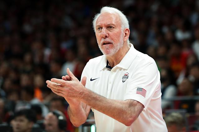 Gregg Popovich stood by Team USA after its seventh-place finish at the FIBA World Cup, the team's worst-ever showing in a World Cup or Olympics. (Lintao Zhang/Getty Images)