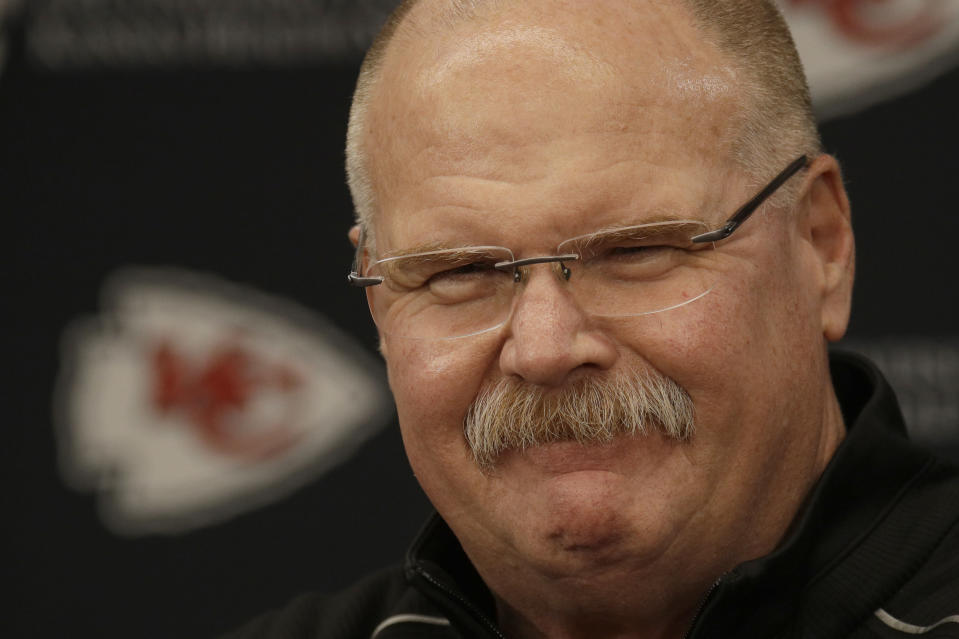 Kansas City Chiefs head coach Andy Reid addresses the media at a news conference Monday, Jan. 20, 2020 at Arrowhead Stadium in Kansas City, Mo. The Chiefs defeated the Tennessee Titans 35-24 Sunday to win the AFC championship to advance to Super Bowl 54 against the San Francisco 49ers. (AP Photo/Charlie Riedel)