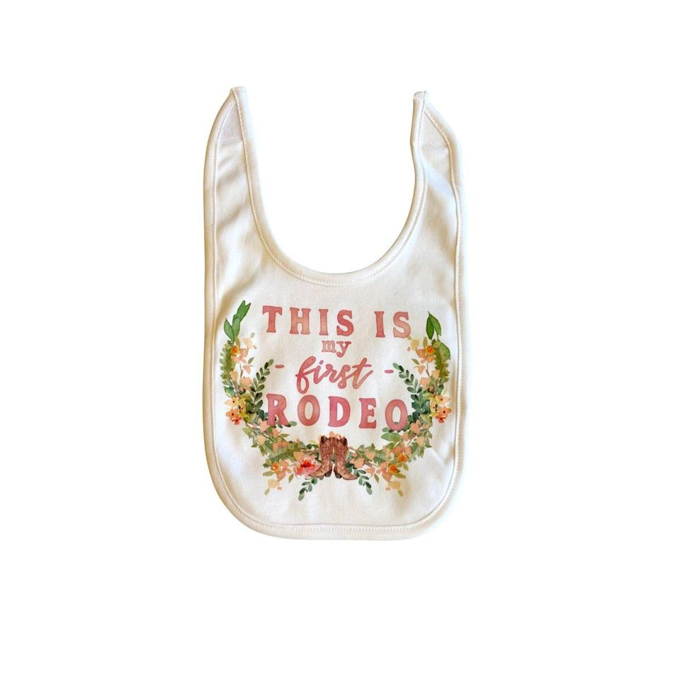 """<p>themercantile.com</p><p><strong>$10.00</strong></p><p><a href=""""https://www.themercantile.com/collections/best-sellers/products/this-is-my-first-rodeo-bib"""" rel=""""nofollow noopener"""" target=""""_blank"""" data-ylk=""""slk:Shop Now"""" class=""""link rapid-noclick-resp"""">Shop Now</a></p><p>Who says the magic of The Merc is just for grown-ups to enjoy? Get the littlest ones in on the fun with these funny bibs. </p>"""
