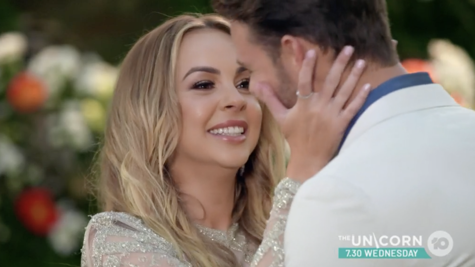 A photo of Angie Kent and winner Carlin Sterritt in the finale of The Bachelorette Australia 2019. Photo: Channel 10.