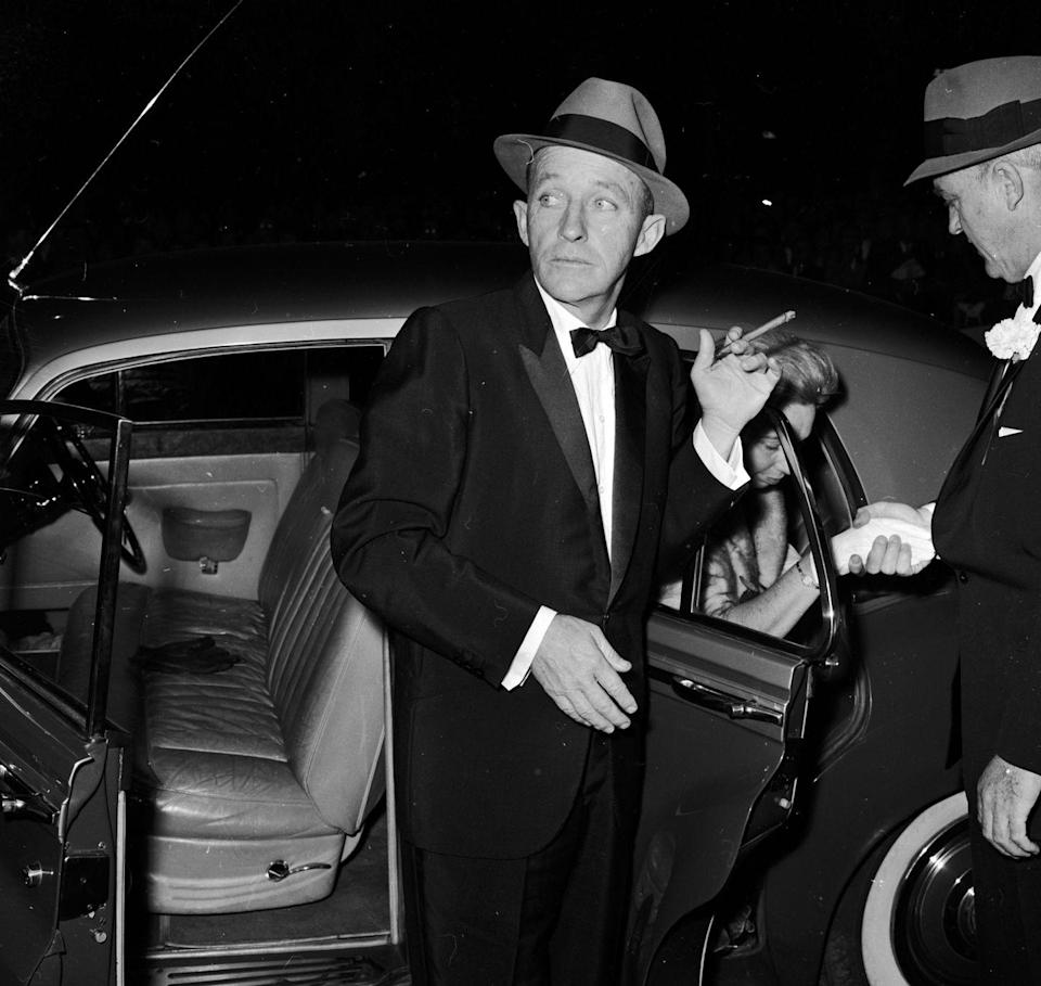 <p>Bing Crosby arrives at the Odeon theatre in London for the 1961 film premiere of <em>Back Street</em>.</p>