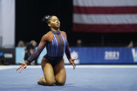 Jordan Chiles performs in the floor exercise during the Winter Cup gymnastics competition, Saturday, Feb. 27, 2021, in Indianapolis. (AP Photo/Darron Cummings)