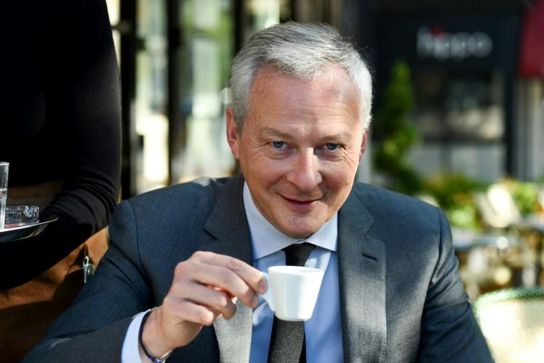 French Finance Minister Bruno Le Maire at the Cafe des Phares, on the Place de la Bastille, in Paris on Tuesday. (AFP Photo/ERIC PIERMONT)