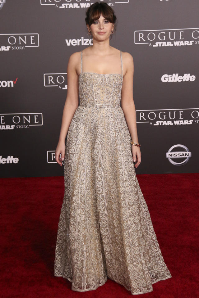 <p>Jones plays the film's heroine, Jyn Erso. She also cops to swiping a pair of Jyn's boots as an unauthorized souvenir. (Paul Rosales/Yahoo Movies) </p>