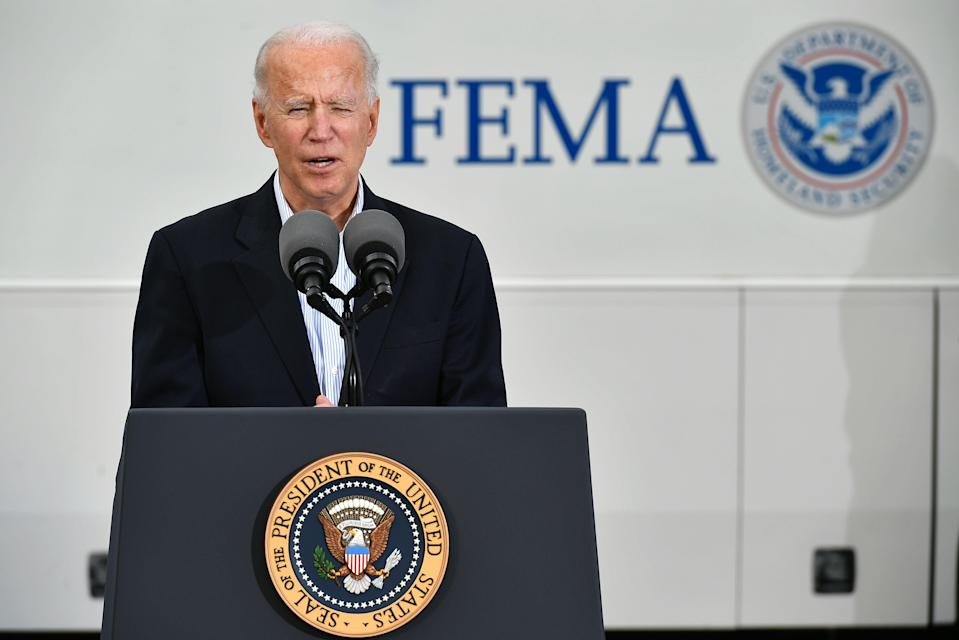 <p>Biden says US 'weeks ahead of schedule' and will be first country to 100 million vaccinations</p> (Photo by MANDEL NGAN/AFP via Getty Images)