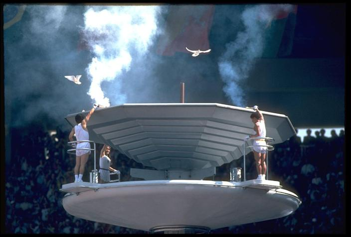 """<p>Doves have ceremoniously been released at the Olympics opening ceremony since 1920. That said, after a flock flew into the Olympic flame in 1988, host countries decided to stop <a href=""""https://olympics.com/ioc/legacy/antwerp-1920/a-symbol-of-peace#:~:text=Live%20doves%20were%20released%20at,to%20emulate%20the%20tradition%20symbolically."""" rel=""""nofollow noopener"""" target=""""_blank"""" data-ylk=""""slk:releasing doves"""" class=""""link rapid-noclick-resp"""">releasing doves</a>. </p>"""