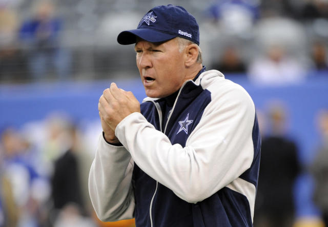 FILE - In this Nov. 14, 2010, file photo, Dallas Cowboys quarterback coach Wade Wilson looks on before an NFL football game against the New York Giants at New Meadowlands Stadium in East Rutherford, N.J. The Cowboys say former NFL quarterback and longtime assistant coach Wade Wilson passed away Friday, Feb. 1, 2019, at his home in Coppell, Texas. The team didnt specify a cause of death for Wilson, who died on his 60th birthday. (AP Photo/Bill Kostroun, File)