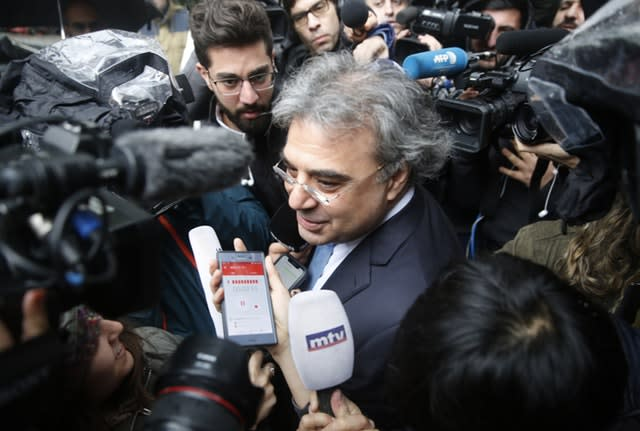 Carlos Abou Jaoude, a lawyer for Carlos Ghosn, leaves the judicial palace where Ghosn was questioned by a Lebanese prosecutor in Beirut