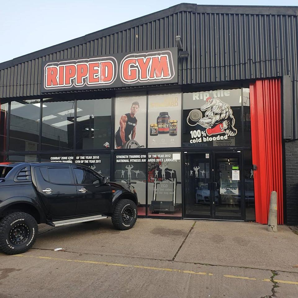 Ripped Gym, located in Harlow, Essex in England, defied lockdown laws and remained open to the public. Photo: Instagram/Ripped Gym