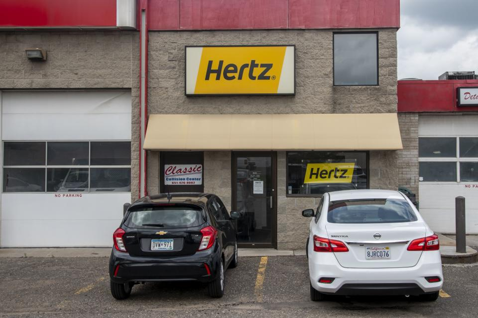 White Bear Lake, Minnesota, Hertz car rental. Hertz filed for bankruptcy protection due to the coronavirus pandemic. Hertz lost all its revenue when travel shut down due to the coronavirus. (Photo by: Michael Siluk/Education Images/Universal Images Group via Getty Images)