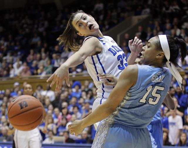 North Carolina's Allisha Gray (15) and Duke's Haley Peters (33) reach for the ball during the first half of an NCAA college basketball game in Durham, N.C., Monday, Feb. 10, 2014. (AP Photo/Gerry Broome)