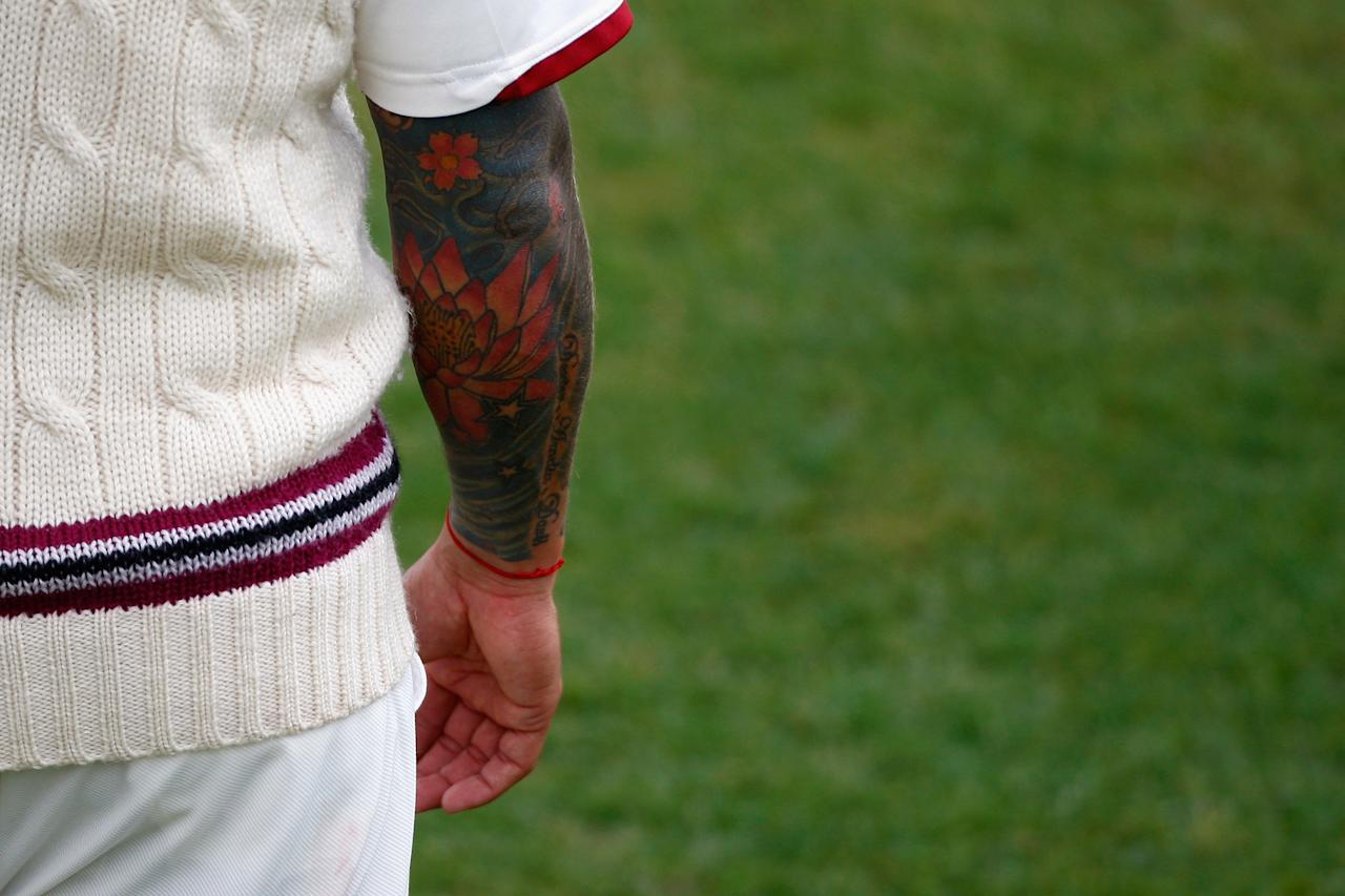 TAUNTON, ENGLAND - MAY 26: A close up of Peter Trego's tattoo during day three of the LV County Championship Division One match between Somerset and Yorkshire at The County Ground on May 26, 2011 in Taunton, England.  (Photo by Harry Engels/Getty Images)