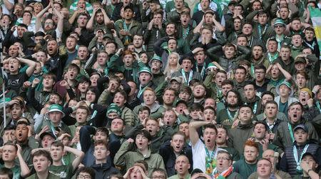 Celtic fans react to play at Celtic Park during the last match of the season against Heart of Midlothian, Glasgow, Scotland, Britain, May 21, 2017. Picture taken May 21, 2017 REUTERS/Paul Hackett