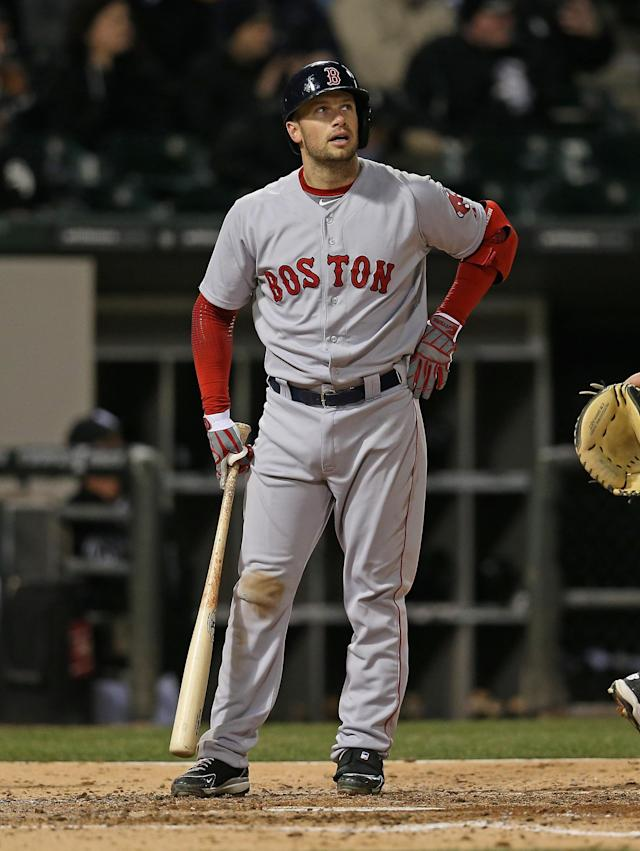 CHICAGO, IL - APRIL 16: Daniel Nava #29 of the Boston Red Sox reacts after striking out in the 4th inning against the Chicago White Sox at U.S. Cellular Field on April 16, 2014 in Chicago, Illinois. (Photo by Jonathan Daniel/Getty Images)