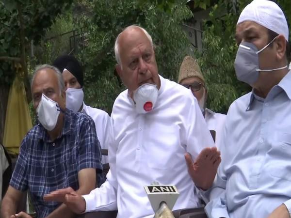 National Conference (NC) leader and former J-K Chief Minister Farooq Abdullah speaking during press conference in Srinagar on Thursday. Photo/ANI