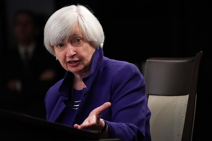 WASHINGTON, DC - DECEMBER 13:  Federal Reserve Chair Janet Yellen speaks during her last news conference in office December 13, 2017 in Washington, DC. Yellen announced that the Federal Reserve is raising the interest rates by a quarter point to 1.5%.  (Photo by Alex Wong/Getty Images)