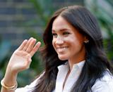 """<p>Meghan Markle matched gold bangles with a meaningful pair of gold butterfly earrings for the September 2019 launch of Smart Works. The earrings belonged to her late mother-in-law Princess Diana, and <a href=""""https://www.townandcountrymag.com/style/jewelry-and-watches/g26363257/meghan-markle-princess-diana-jewelry/"""" rel=""""nofollow noopener"""" target=""""_blank"""" data-ylk=""""slk:Meghan has worn them repeatedly since marrying Prince Harry"""" class=""""link rapid-noclick-resp"""">Meghan has worn them repeatedly since marrying Prince Harry</a>.</p>"""