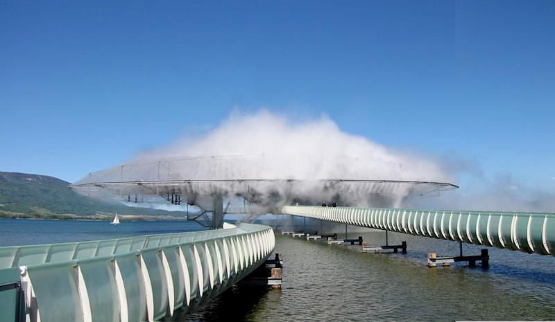 The 2002 Blur Building was an ephemeral cloud of water vapor over a lake in Switzerland.