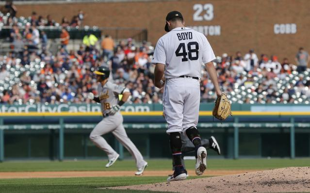 Detroit Tigers starting pitcher Matthew Boyd (48) walks off the mound as Oakland Athletics' Chad Pinder rounds the bases after a solo home run during the seventh inning of a baseball game, Saturday, May 18, 2019, in Detroit. (AP Photo/Carlos Osorio)