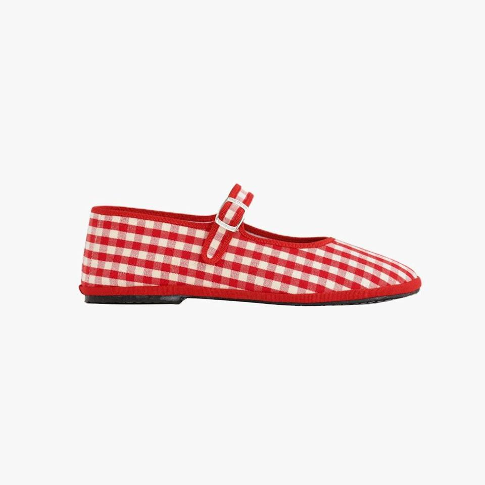 """$150, ALEX MILL. <a href=""""https://www.alexmill.com/collections/women-accessories/products/drogheria-crivellini-mary-janes-in-red-gingham"""" rel=""""nofollow noopener"""" target=""""_blank"""" data-ylk=""""slk:Get it now!"""" class=""""link rapid-noclick-resp"""">Get it now!</a>"""