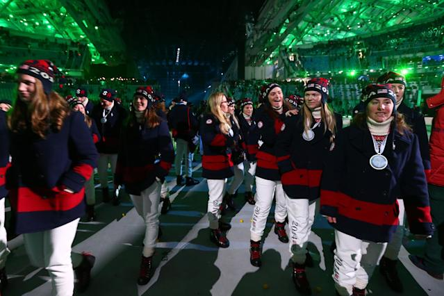 SOCHI, RUSSIA - FEBRUARY 23: Athletes from the United States enjoy the closing party during the 2014 Sochi Winter Olympics Closing Ceremony at Fisht Olympic Stadium on February 23, 2014 in Sochi, Russia. (Photo by Ryan Pierse/Getty Images)