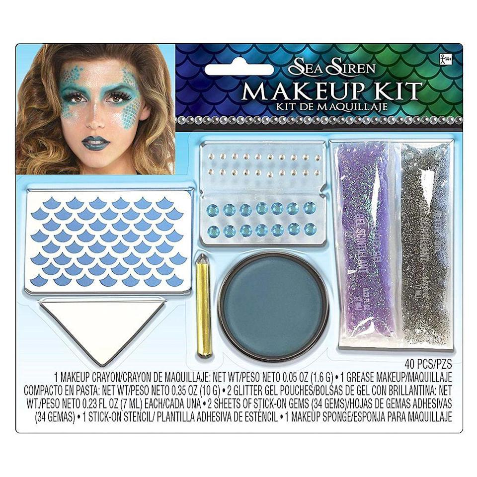 """<p><strong>See All Mermaid Party Supplies</strong></p><p>partycity.com</p><p><strong>$12.99</strong></p><p><a href=""""https://go.redirectingat.com?id=74968X1596630&url=https%3A%2F%2Fwww.partycity.com%2Fadult-sea-siren-mermaid-makeup-kit-752437.html&sref=https%3A%2F%2Fwww.elle.com%2Fbeauty%2Fmakeup-skin-care%2Fg34161924%2Fbest-halloween-makeup-kits%2F"""" rel=""""nofollow noopener"""" target=""""_blank"""" data-ylk=""""slk:Shop Now"""" class=""""link rapid-noclick-resp"""">Shop Now</a></p><p> Use the adhesive stencils and blue cream makeup from this kit to create custom scales on your face, neck, and body. Top them off with glitter gel and add stick-on rhinestones around the eye for an enchanting sea siren gaze.</p>"""