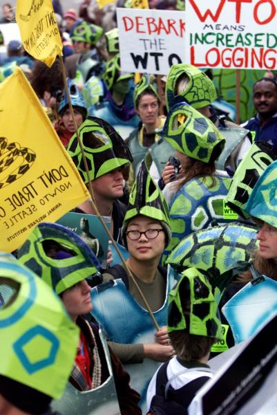 FILE - In this Nov. 29, 1999, file photo, Adelaide Chen of Oakland, Calif., center, wearing a sea turtle costume to protest the treatment of animals by WTO countries, stands with others during a protest against the World Trade Organization in Seattle.  Saturday, Nov. 30, 2019 marks 20 years since tens of thousands of protesters converged on Seattle and disrupted a major meeting of the World Trade Organization. The protesters' message was amplified not just by their vast numbers but by the response of overwhelmed police, who fired tear gas and plastic bullets and arrested nearly 600 people. Two decades later, many of their causes are still relevant. (AP Photo/Beth A. Keiser, File)