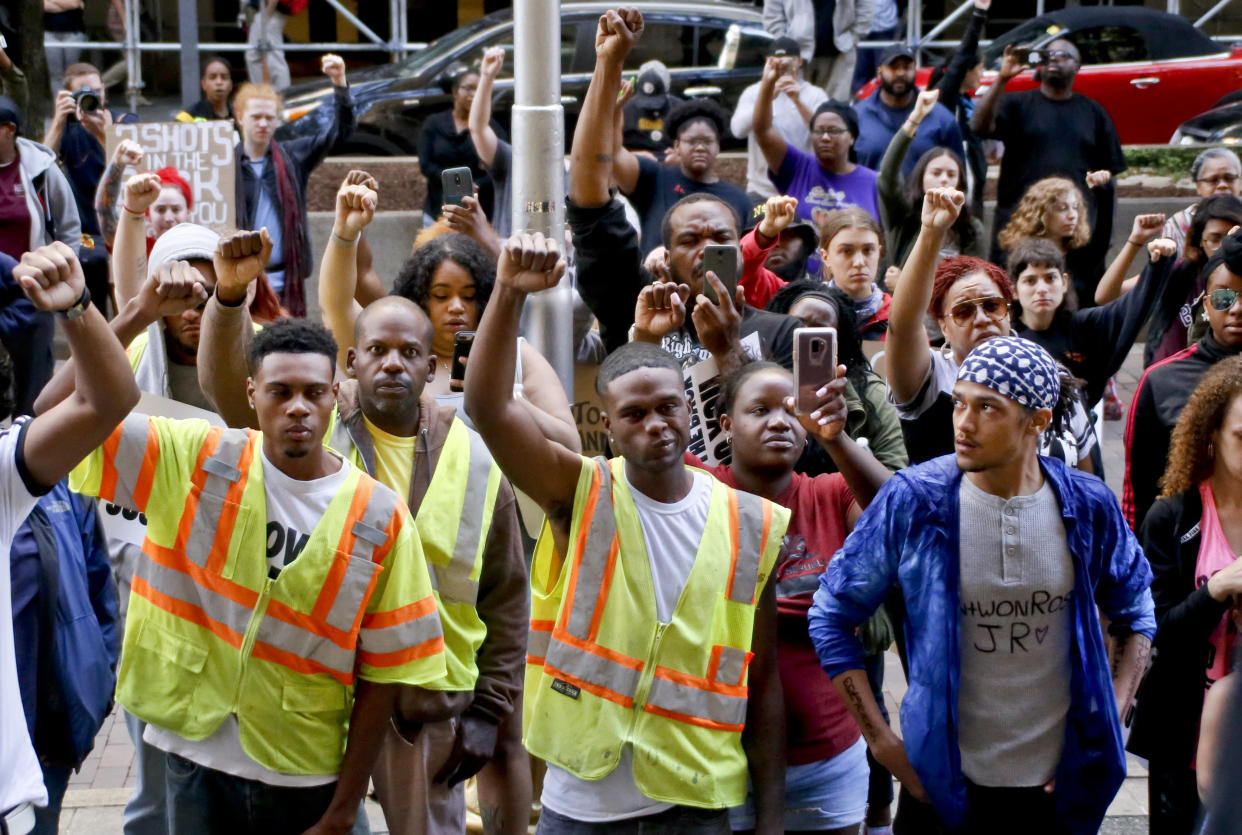Demonstrators protest the shooting death of Antwon Rose Jr. in Pittsburgh in June. (Photo: Keith Srakocic/AP)