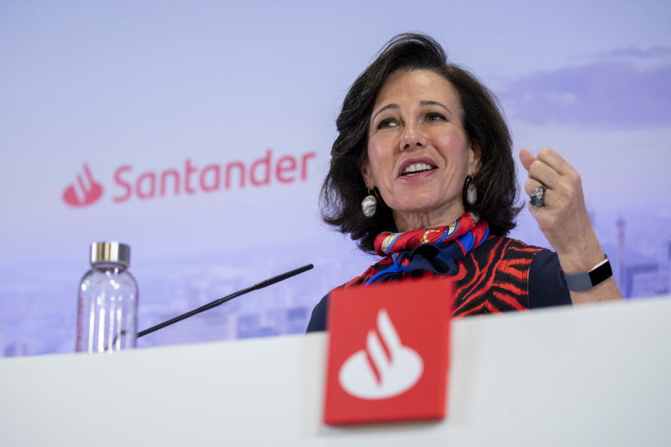 MADRID, SPAIN - JANUARY 29: Banco Santander Chairman, Ana Patricia Botin, speaks during a news conference to announce the 2019 results at the bank's headquarters on January 29, 2020 in Boadilla del Monte, near Madrid, Spain. Banco Santander's net profit was 6.5 billion euros in 2019, an 17% decrease on the previous year. (Photo by Pablo Blazquez Dominguez/Getty Images)