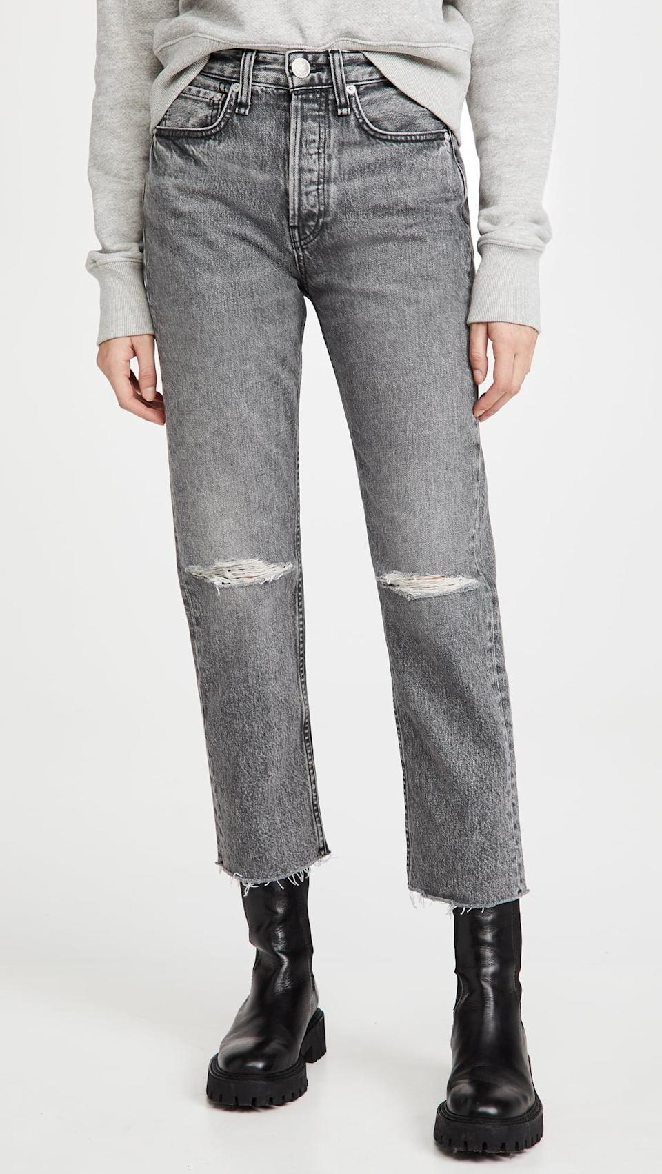 <p>The distressed detail on these <span>Rag &amp; Bone/JEAN Maya High Rise Ankle Slim Jeans</span> ($255) is so cute.</p>
