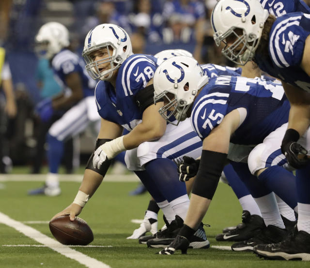 Colts C Ryan Kelly, No. 78, started all 16 games as a rookie but will not be on the field in the opening weeks of this season as he recovers from foot surgery. (AP)