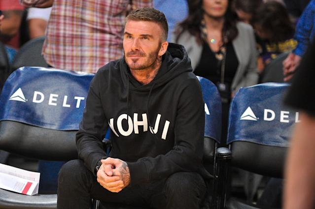 David Beckham attends a basketball game between the Los Angeles Lakers and the Charlotte Hornets at Staples Center on October 27, 2019 in Los Angeles, California. (Photo by Allen Berezovsky/Getty Images)