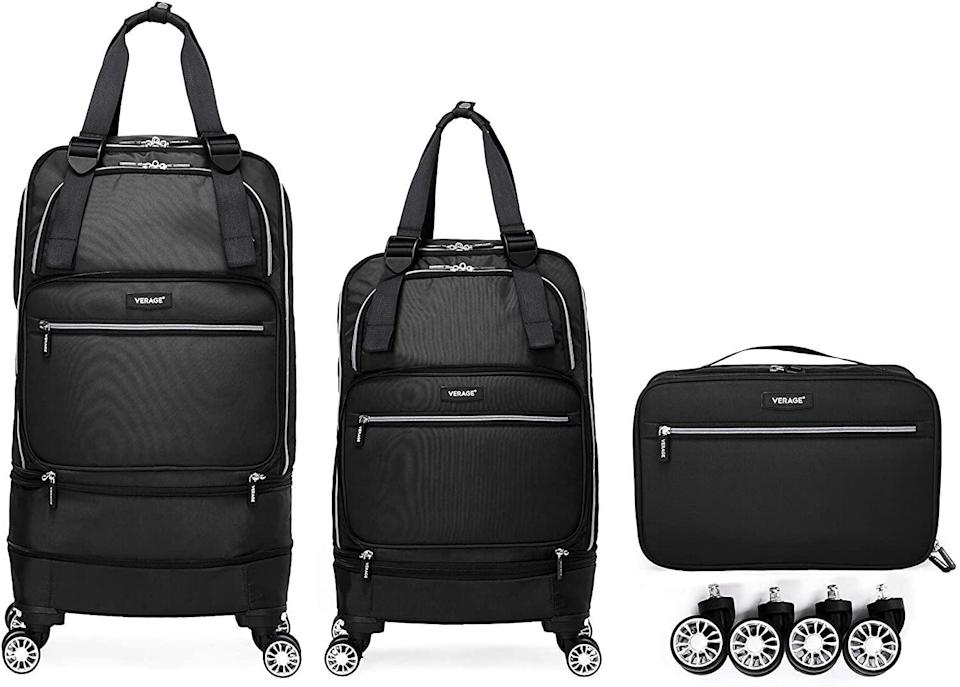 """<h2>Verage Foldable Luggage</h2><br><br><strong>Verage</strong> Foldable Luggage, $, available at <a href=""""https://www.amazon.com/Foldable-wheels,Expandable-Collapsible-Suitcase-28inches/dp/B08GQ26TTP"""" rel=""""nofollow noopener"""" target=""""_blank"""" data-ylk=""""slk:Amazon"""" class=""""link rapid-noclick-resp"""">Amazon</a>"""