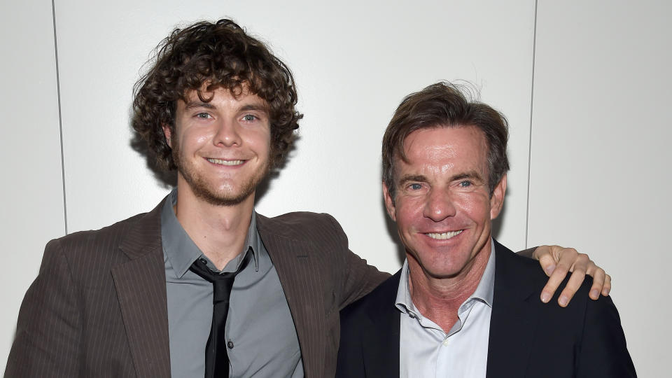 """Jack Quaid and Dennis Quaid attend the Armani and Cinema Society Screening of """"Truth"""" on October 7, 2015. (Photo by Dimitrios Kambouris/Getty Images)"""
