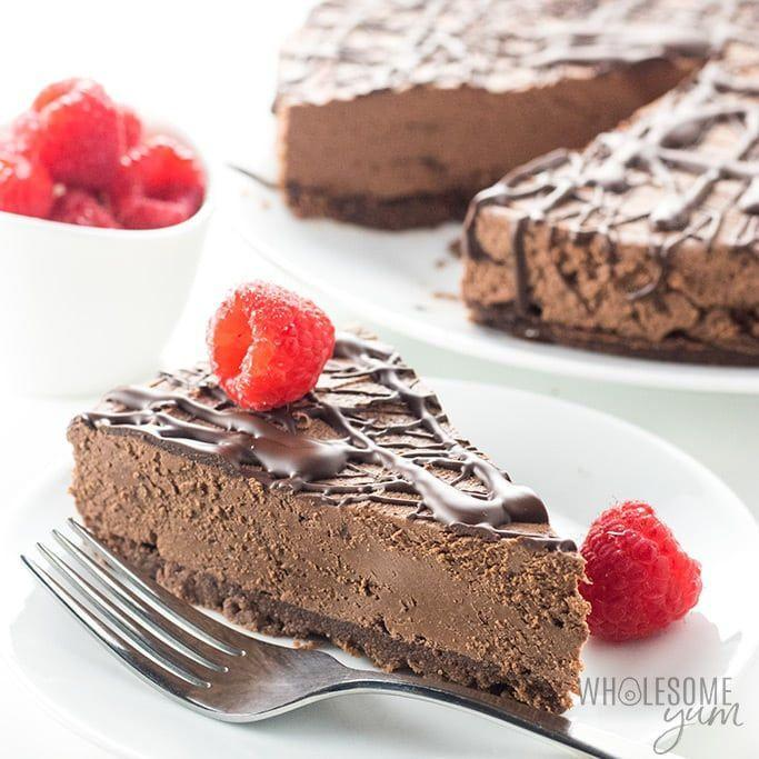 """<p>A chocolate-y twist that will make your heart sing.</p><p><strong><a class=""""link rapid-noclick-resp"""" href=""""https://www.wholesomeyum.com/keto-low-carb-no-bake-chocolate-cheesecake-recipe/"""" rel=""""nofollow noopener"""" target=""""_blank"""" data-ylk=""""slk:Get the recipe"""">Get the recipe</a></strong></p><p><em>Per serving: 238 calories, 23 g fat, 10 g carbs, 0 g sugar, 5 g fiber, 6 g protein.</em></p>"""