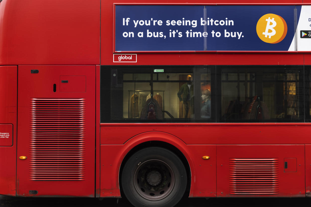 Advert for Bitcoin on a bus in the capital's West End during the third lockdown of the Coronavirus pandemic, on 3rd March 2021, in London, United Kingdom. The cryptocurrency hit a new record high of $42,000 late last week, only to plunge by more than 20% over the weekend. Now at around $34,500, bitcoin has still rocketed since October, when it cost $11,000. (photo by Barry Lewis/In Pictures via Getty Images)