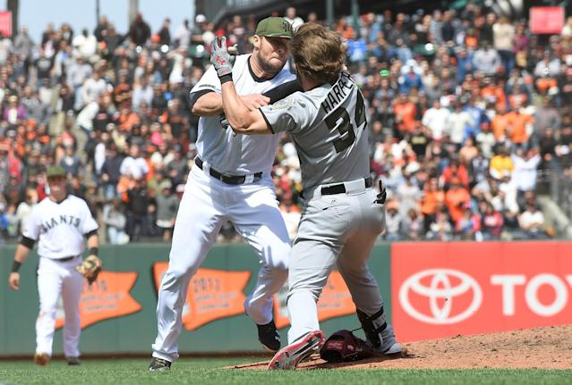 New rule: The third man involved in a baseball brawl gets suspended. (Getty Images)