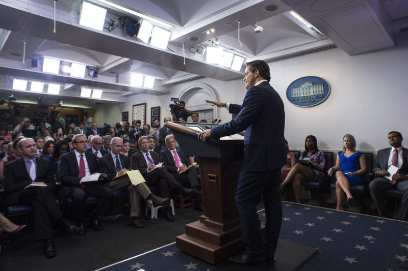 WASHINGTON, DC - JULY 21: Anthony Scaramucci, incoming White House communications director, takes questions as he speaks in the briefing room at the White House in Washington, DC on Friday, July 21, 2017. (Photo by Jabin Botsford/The Washington Post via Getty Images)