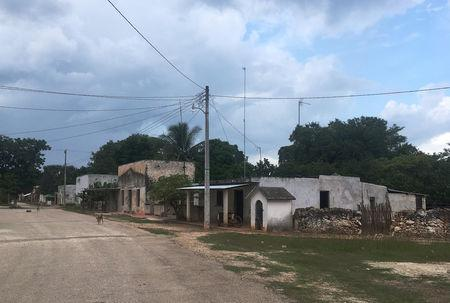 A general view shows part of the village of San Jose Tipceh, in Mexico's Yucatan peninsula, where a small group of Mayan indigenous oppose the construction of a vast solar park by SunPower, Mexico October 4, 2018. Picture taken October 4, 2018. REUTERS/Noe Torres
