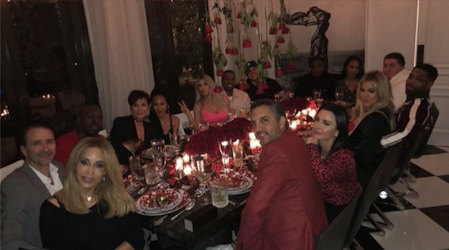 Kris and her dinner guests. (Image: Kim Kardashian via Instagram)